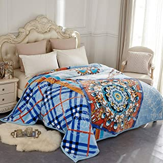JYK Heavy Korean Mink Fleece Plush Blankets Queen Size – 2 Ply Reversible Super Soft Fuzzy Warm Microfiber Thermal Blanket for Autumn Winter