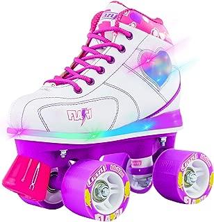 Flash Roller Skates for Girls - Light Up Skates with Ultra Bright LED Lights and Flashing Lightning Bolt - White Patines