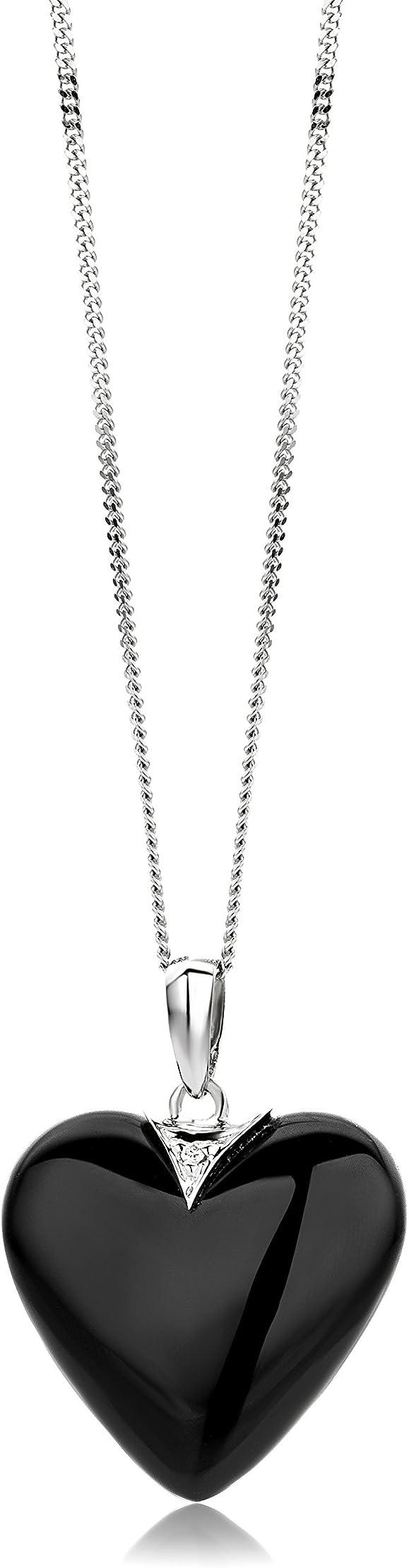 Collana cuore miore donna con catena cuore agata nera con diamante taglio brillante oro bianco 9 kt MG9067N