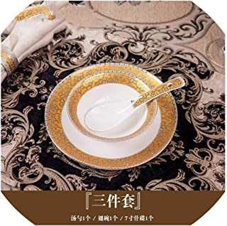 Elegant Gold Marble Glazes Ceramic Party Tableware Set Plates Dishes Noodle Bowl Coffee Mug Cup For Decoration Refined,Three-piece set
