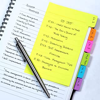 Divider Sticky Notes, Tabbed Self-Stick Lined Note Pad, 60 Ruled Notes, 4 x 6 Inches, Assorted Neon Colors