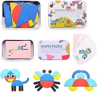 HellDoler Tangram Madera,Bloques de Madera Montessori Juguetes 36 Montessori Forma Geométrica Bloques de Patrones y 60 Piezas Tarjetas de Diseño