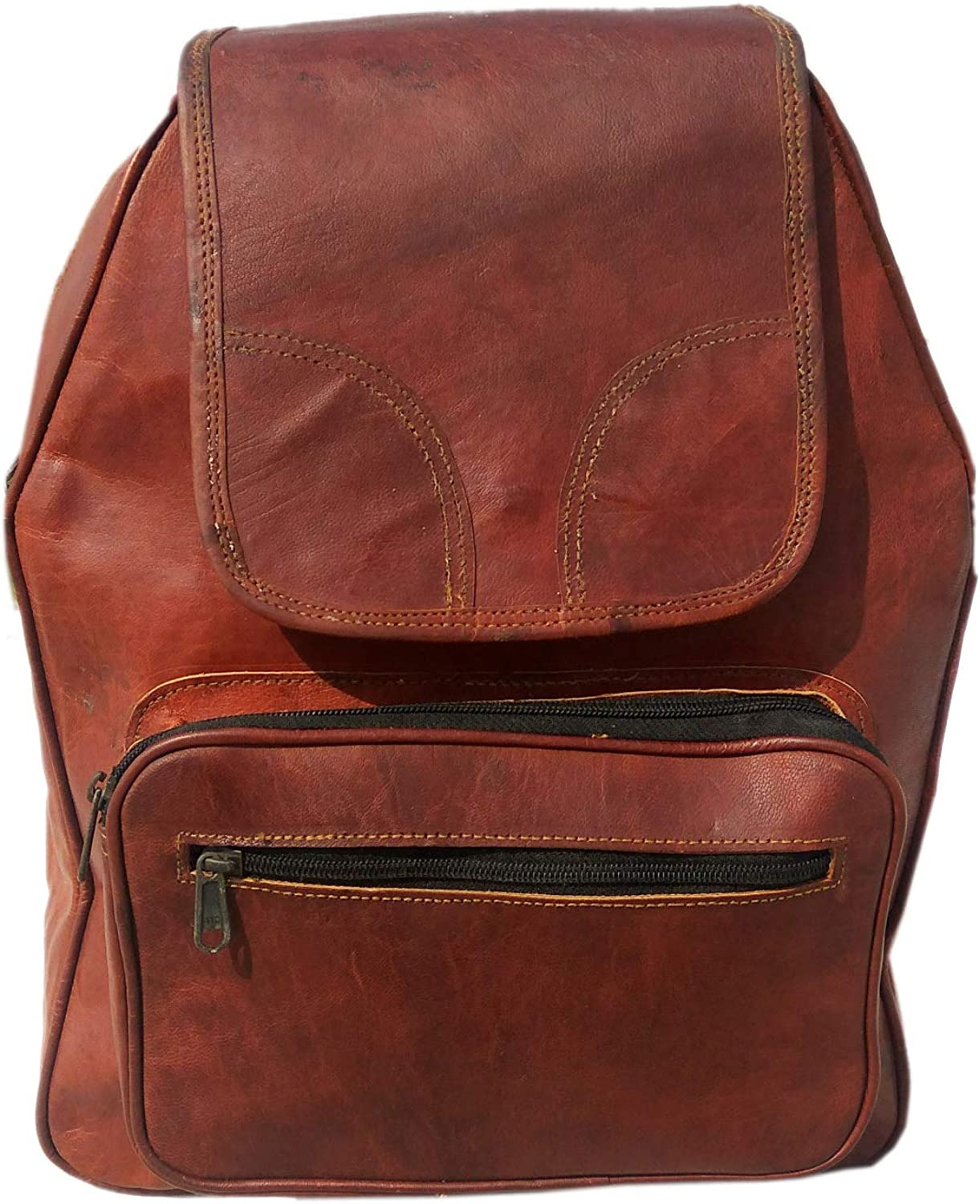 Desert Town Unisex Genuine Leather 4 LTR. Vintage Brown Basic Multi-Purpose DayPacks 12X16 -(BP107)