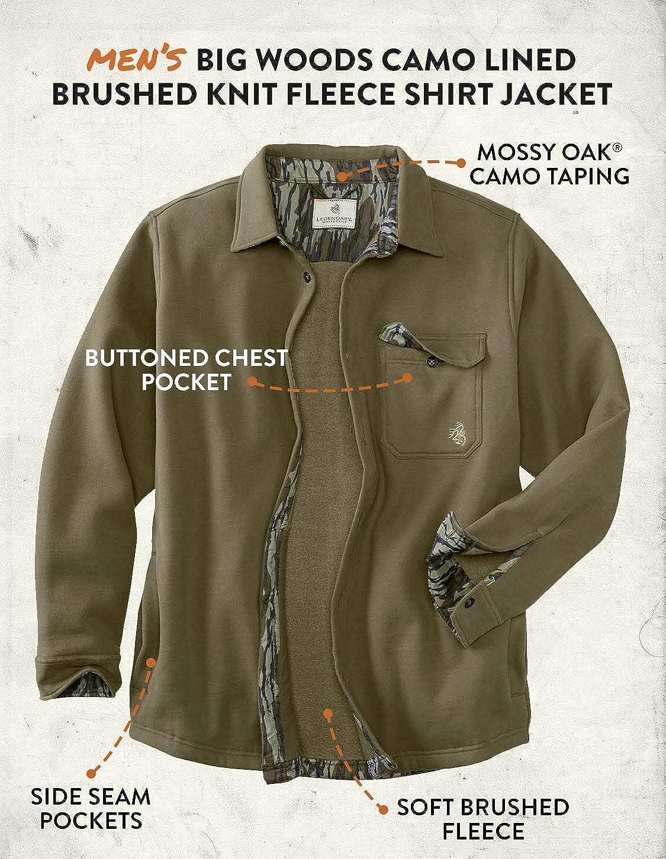 Legendary Whitetails mens Big Woods Fleece Shirt Jacket Button Closure Brushed Knit Camo Lined Regular Fit Long Sleeve