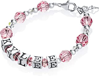 Personalized Name Baby Bracelet Sterling Silver with Swarovski Crystals (BPN+S+)