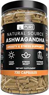 Ashwagandha Root, 730 Capsules, 6 Month Supply, No Magnesium or Rice Filler, High Potency, Gluten-Free, Made in The USA, Natural Source, Undiluted Ashwagandha with No Additives