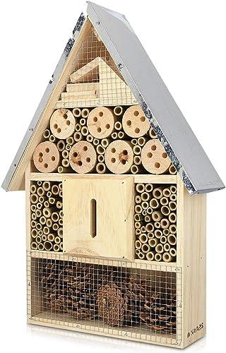 Navaris Hôtel à Insecte Bois - Cabane abri XL 40 x 23 x 7 cm - Maisonnette Refuge Toit métal Abeille Coccinelle Papil...