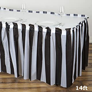 BalsaCircle 2 pcs 14 feet x 29-Inch Black and White Stripe Table Skirts Wedding Party Event Decorations Catering Wholesale