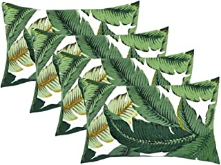 RSH DECOR Set of 4 Indoor/Outdoor Decorative Lumbar/Rectangle Pillows - Made with Swaying Palms - Aloe - Green Tropical Palm Leaf