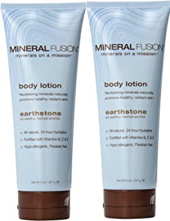 Mineral Fusion Earthstone Body Lotion (Pack of 2) with Aloe Barbadensis Leaf Juice, Sunflower Seed Oil, Coconut Oil, Beeswax, Cocoa Seed Butter and Vitamin C, 8 oz.