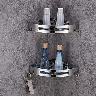 ENCOFT Estanteria para Baño sin Taladro Estante Ducha Acero Inoxidable 304 con 4 Ganchos Estanteria Esquina Ducha Almacenaje Baño (2 Paquete)