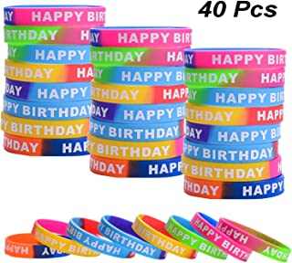 40 Pieces Happy Birthday Rubber Bracelets Colored Silicone Teacher Wristbands Bracelets Bands for Birthday Party Favors, 8 Styles (Style Set 1, 40 Pieces)