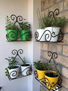 NAYAB (Set of 4) Vintage Scrolled Wall Mounted Hanging Iron Small Plant Holder Stand Rack Without Pot Planters for Balcony, Garden, Indoor Outdoor Corner Shelf
