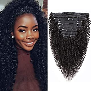 VTAOZI Curly Clip in Hair Extensions Human Hair for Black Women 8A Brazilian 3C 4A Kinky Curly Real Hair Extensions Clip in Human Hair Natural Color 10Pcs 120G/Set (16 Inch)