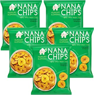 Nana Chips Organic Plantain Chips - Lightly Salted Snacks (5 Pk) - Vegan, Gluten-Free, High Potassium, All Natural Ingredients - Healthy Alternative for Potato Chips - 4.9 Oz. - by Hungry Elephant
