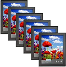 Icona Bay 8x10 Picture Frame (6 Pack, Black), Black Photo Frame 8 x 10, Wall Mount Hangers and Table Top Easel, Display Horizontally or Vertically, Set of 6 Allure Collection
