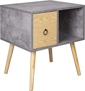 WOLTU Bedside Table with 1 Drawer and 1 Open Compartment Side Table Nightstand Bedroom Bedside Unit Cabinet Grey 48x40x50cm TSR72gr