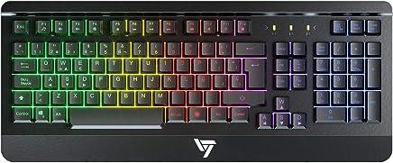 VicTsing Teclado Gaming Español USB, LED Rainbow Retroiluminación con 12 Teclas Multimedia y 19 Teclas Anti-ghosting, Teclado Retroiluminado de Panel Completamente Metálico