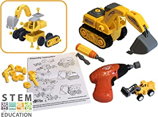 Funstruction Toys Excavator Construction Stem Toys for 4-5 Year Old Boys & Girls - Boy Toys Construction Vehicles with Electric Toy Tools, Gifts 4 Girl & Boy Toys for 3 Year Old Boys & Girls