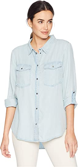 Luxe Indigo Tencel Long Sleeve Two-Pocket Shirt