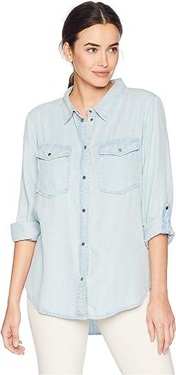 Luxe Indigo Tencel Long Sleeve Two-Pocket Shirt