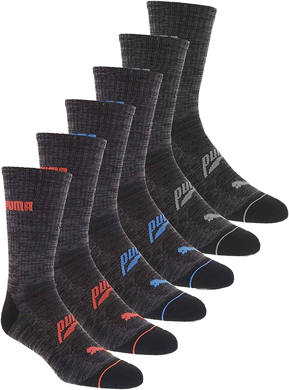 Puma Men's 6 Pack Sport Style Long Crew Socks