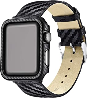 Carbon Fiber Genuine Leather Apple Watch Band 42MM Suit,High-Gloss,Twill Weave Finish,Ultra Thin Apple Watch Protective Case(PC) Compatible Apple Watch Series 3/2/1