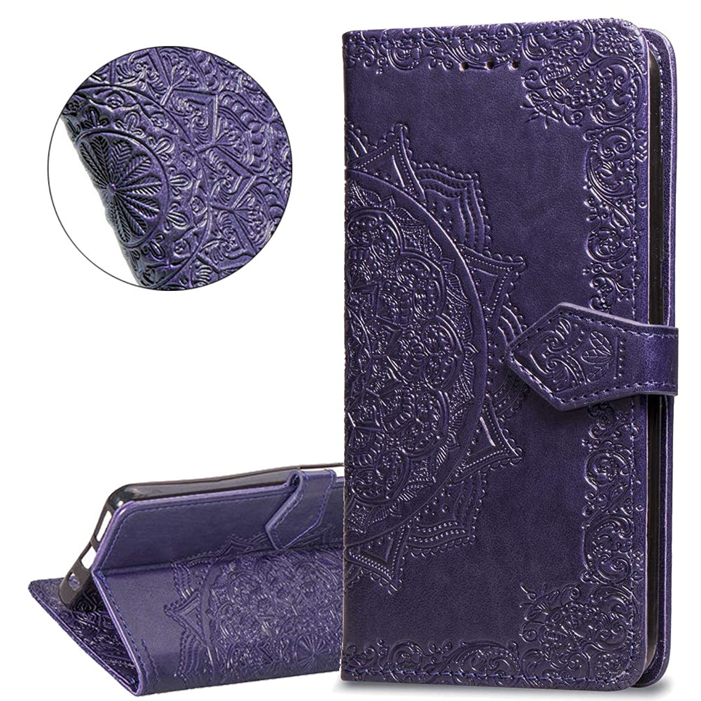 HMTECHUS J8 2018 case Embossed Solid Color Flower Card Slots PU Leather Wallet Bookstyle Magnetic Flip Stand Shockproof Protection Slim Cover for Samsung Galaxy J8 2018 -Mandala Purple SD
