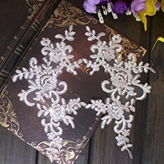 2 Pcs Raw white Flower Lace Patches for Wedding Dress DIY Clothing Flower Applique Collar Material