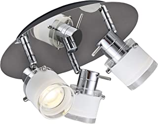 B.K.Licht plafonnier LED salle de bain 3 spots orientables pivotables, IP44, ampoules 3x5W GU10 incluses, 400lm par spot