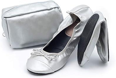 CatMotion Zapatos cómodos plegables en su bolso, Bailarinas para damas, Bombas para después de la fiesta, Zapatos plegables para bodas, Zapatos de bolsillo, Zapatillas de ballet plegables con bolsa po