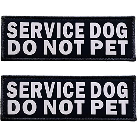 JUJUPUPS Black Reflective Dog Patches 2 Pack Service Dog ,in Training, DO NOT PET, Tags with Hook and Loop Patches for Vests and Harnesses (Service Dog DO NOT PET, 6x2 inch)