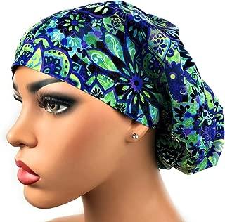 Womens Surgical Scrub Hat OR Nurse Cap Euro Style Purple, Blue, Green Floral Print Bouffant Cap