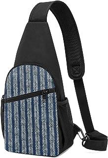 PGTry - Bolso bandolera de tela de barro azul marino con punta de flecha, ligera, mochila para el hombro, bolsa cruzada, b...