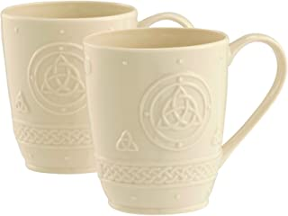 Belleek Group 4138 Celtic Mug, 10-Ounce, Ivory, 2-Count