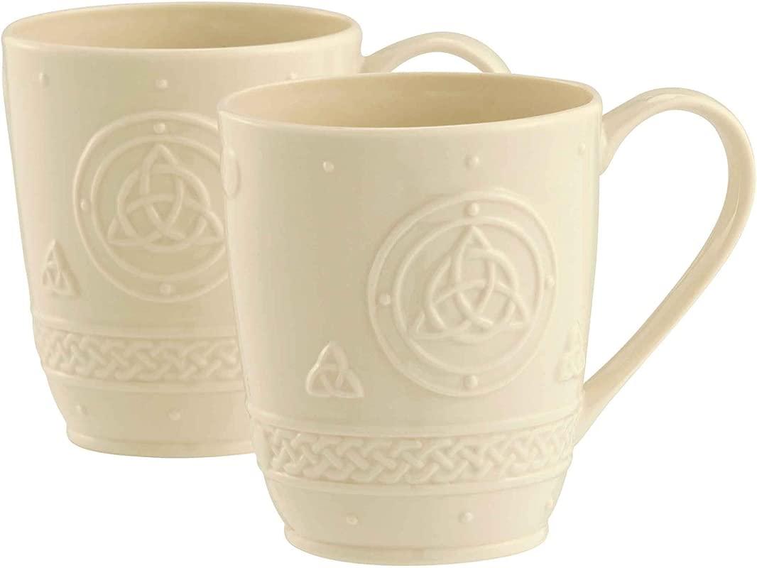 Belleek Group 4138 Celtic Mug 10 Ounce Ivory 2 Count