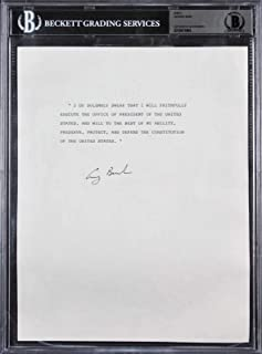 George H.W. Bush Signed 8.5x11 Oath Of Office Sheet BAS Slabbed - Beckett Authentication