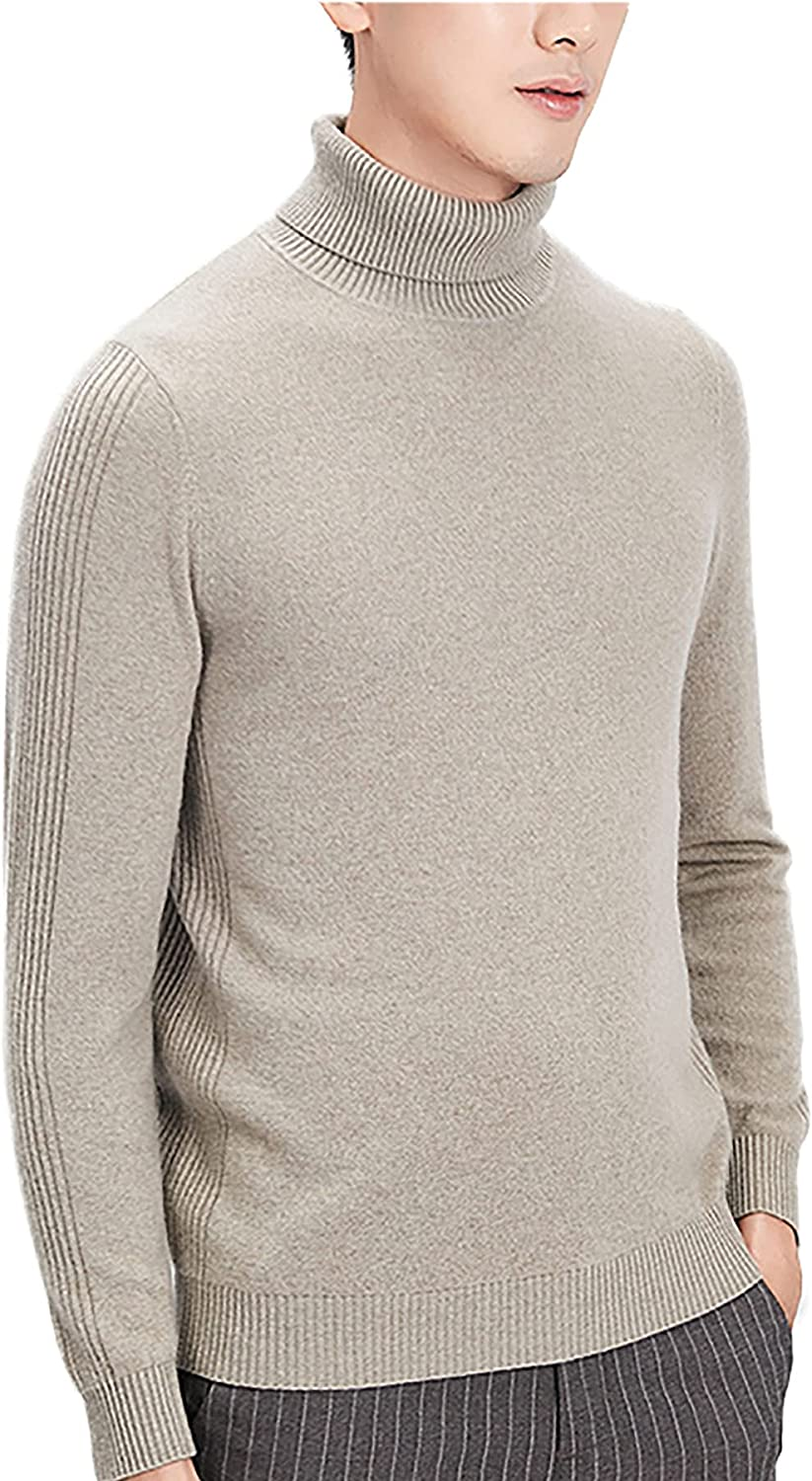 LZJDS Men's Cashmere Slim Fit Turtleneck Sweater Casual Knitted Pullover Sweaters