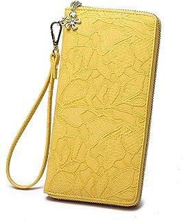 Women large Wallet soft leather wristlet Card Organizer Phone holder Ladies Clutch Long Purse with Wrist Strap Zipper around