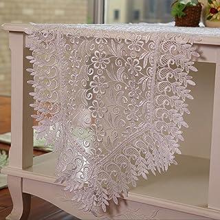 Camino de mesa Retro Table Runner Crochet Doilies manteles cuadrados de encaje bordado de algodón borla de encaje tapete mesa de café de tela tv gabinete decoraciones de la boda Decoración hogareña ( Color : Blanco , Size : 40*200cm )