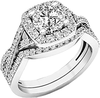 2.55 Carat (Ctw) 10K Gold Round Cut Cubic Zirconia Ladies Halo Engagement Ring Set 2 1/2 CT