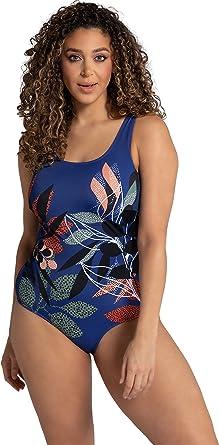 Ulla Popken Damen große Größen Übergrößen Plus Size Badeanzug, Dschungel, ohne Softcups, Unterbrustband 792731