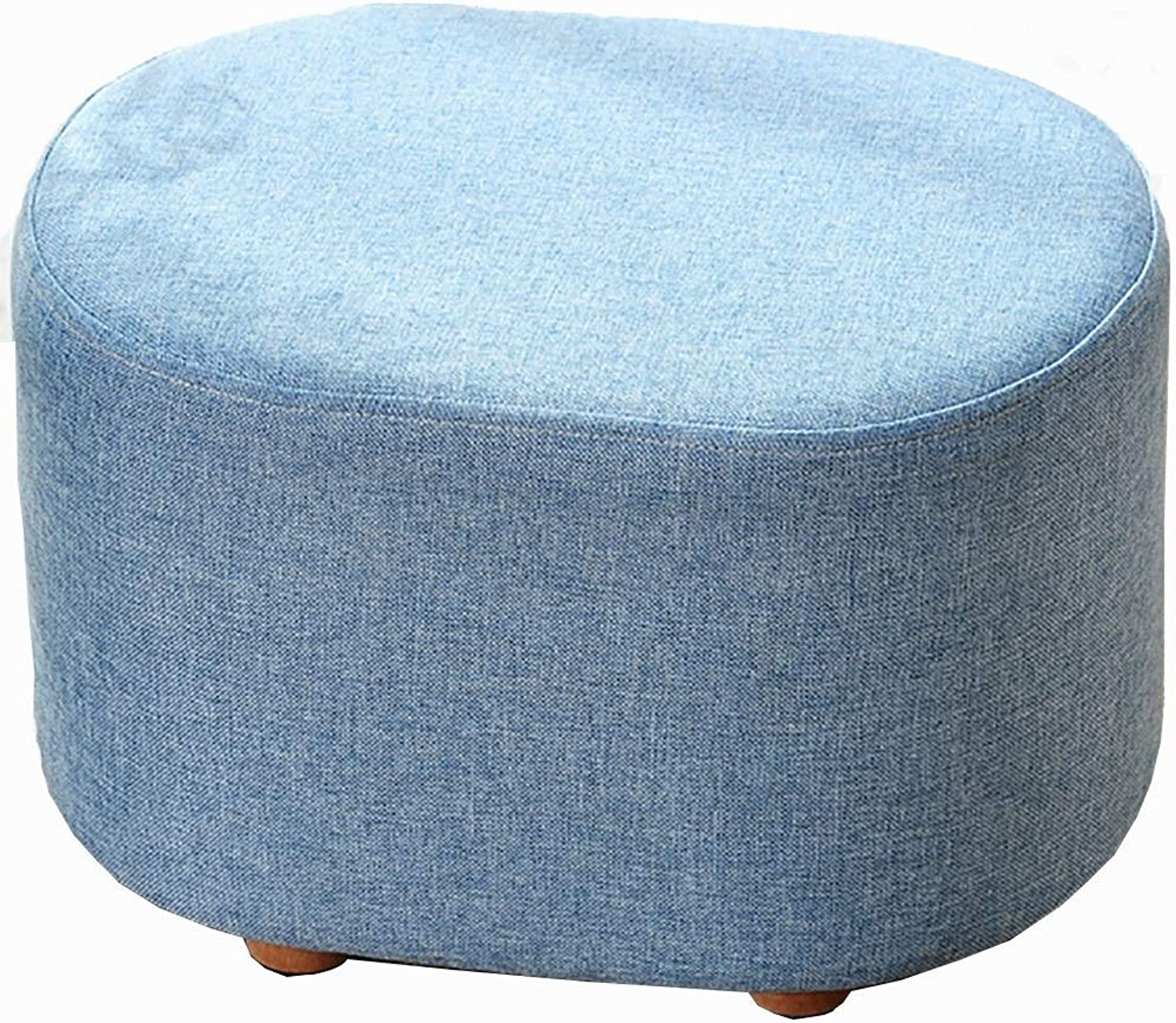 Upholstered Footstool Sofa Stool Solid Wood Stool shoes Bench 3 color Optional GFMING (color   bluee)