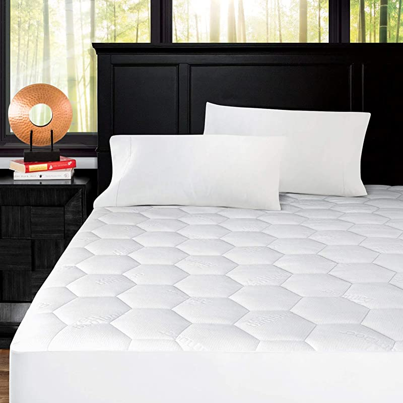 Zen Bamboo Ultra Soft Fitted Bamboo Mattress Pad Premium Hypoallergenic Bamboo Mattress Topper With Honeycomb Cooling Technology Queen