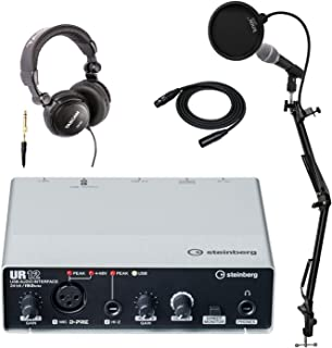 Steinberg UR12 USB Audio Interface with Mic, Headphones, Knox Studio Stand, Pop Filter and XLR Cable Bundle