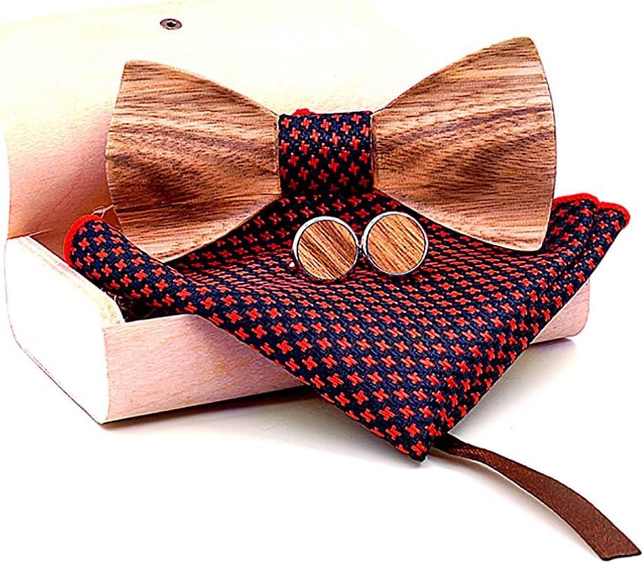 Licogel Bow Tie Set Wood Decorative Formal Bow Tie Pocket Square Party Cufflinks for Man Shirt Suit Retro Fashion