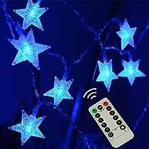 LAMPDREAM 25ft 50 LED Battery Powered String Lights, Waterproof Blue LED Christmas Star LED Lights for Christmas, Bedroom, Wedding, Halloween, Party, Blue