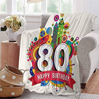 Lightweight Blanket Happy Birthday Ribbon with Geometrical Castle Boat and Shapes Image Print Multicolor Bed Sleeping Travel Pets Reading W71 xL90