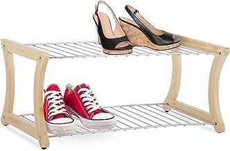 casa pura® Fiona Schoenenrek   massief hout en verchroomd staal   standveiligheid ook voor kleinere schoenen   58 x 32 x 2...