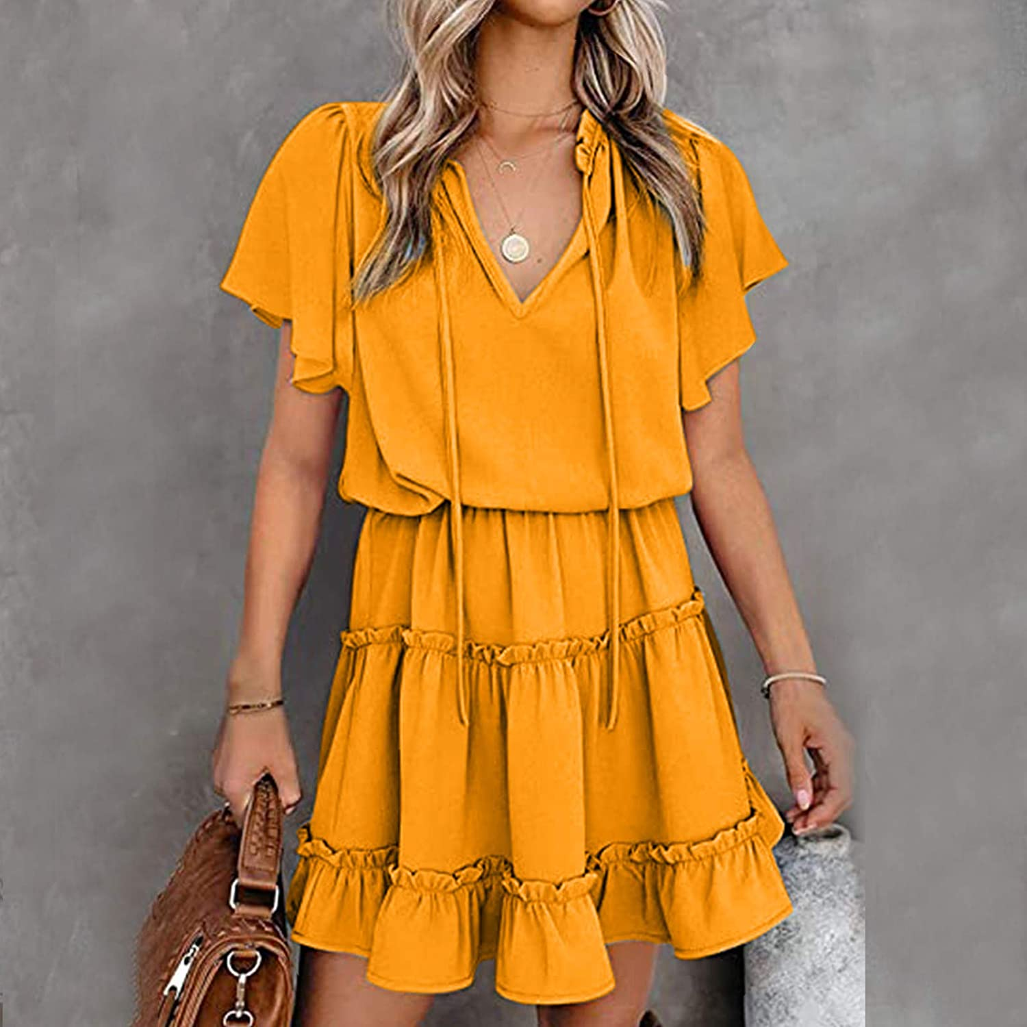 Qonii Dresses for Women Inexpensive Casual Summer Neck Direct stock discount Lotus V Fashion Dress